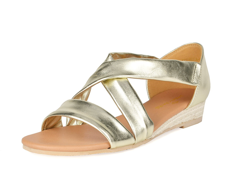 DREAM PAIRS Women's Formosa_8 Gold Low Platform Wedges Crossover Sandals Size 11 B(M) US