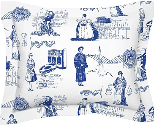 Amazon Com Roostery Pillow Sham Computer Science Smart Lady Tech Geek Education Womens Day Toile Vintage Lovelace Nerd Feminist Print 100 Cotton Sateen 30in X 24in Flange Sham Home Kitchen