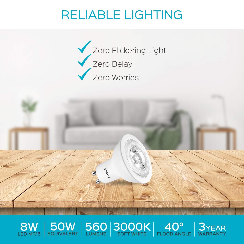 120V MR16 LED Spotlight Bulb 40-Degree Beam Angle GU10 Bi-Pin Base 50W Equivalent 4-Pack Damp Rated /& Energy Star Luxrite GU10 LED Bulbs Dimmable 3000K Soft White