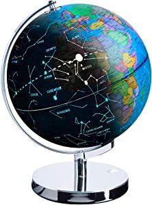 "Illuminated Spinning World Globe for Kids, KingSo 12"" Diameter 3 in 1 World Globe dispiay Nightlight, Earth Globe with Heavy Duty Stand for Kids