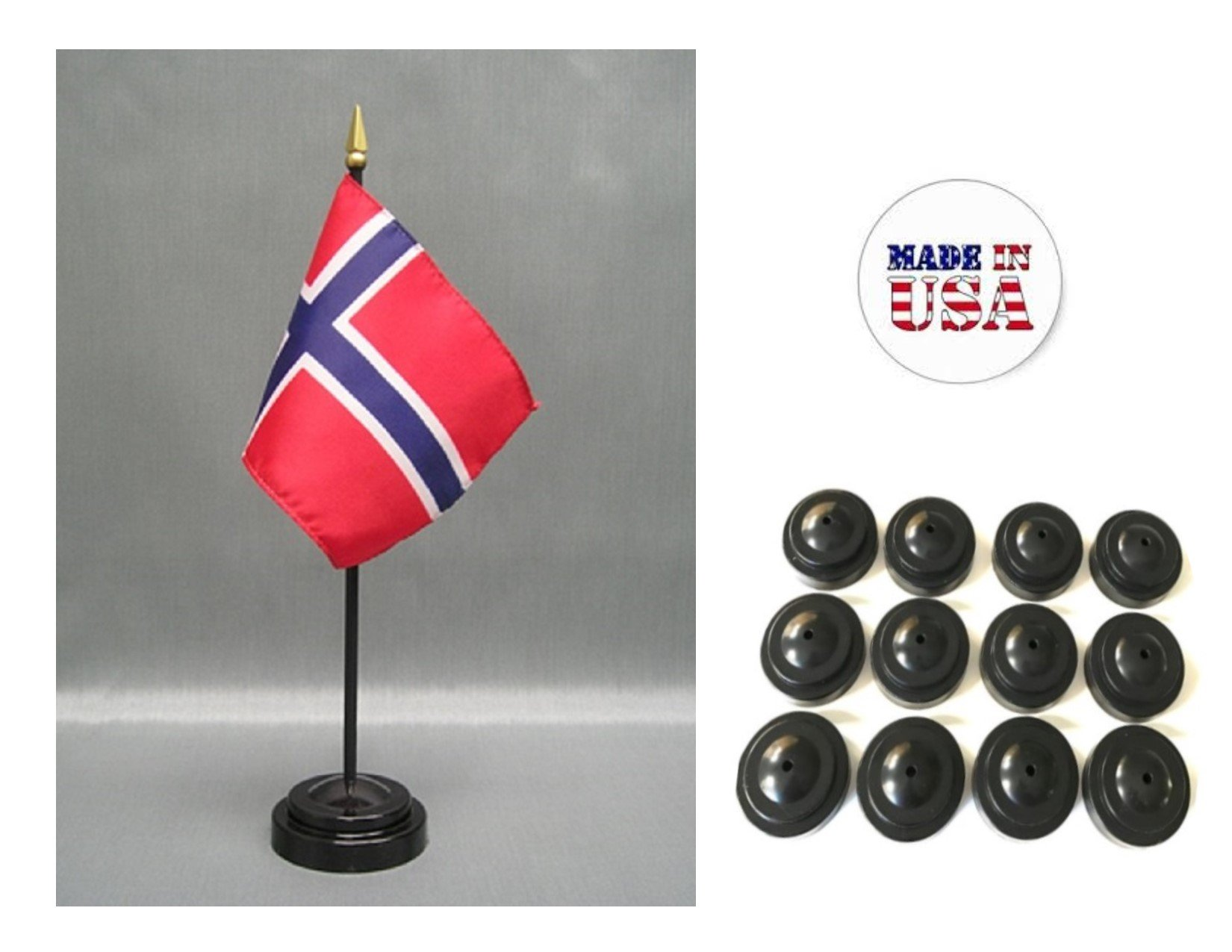 Made in the USA!! Box of 12 Norway 4''x6'' Miniature Desk & Table Flags Includes 12 Flag Stands & 12 Norwegian Small Mini Stick Flags