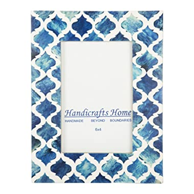 Picture Photo Frame Moorish Damask Moroccan Arts Inspired Handmade Naturals Bone Frames Photo Size 4x6 & 5X7 Inches (4X6, Blue & White)