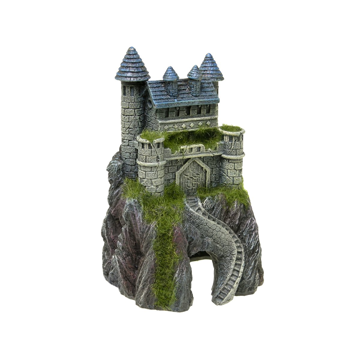 Blue Ribbon EE-1123 Exotic Environments Mountain Top Castle with Moss Aquarium Ornament