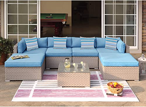 COSIEST 7-Piece Outdoor Wicker Patio Furniture Set All-Weather Rattan Sectional Sofa w Thick Cushion