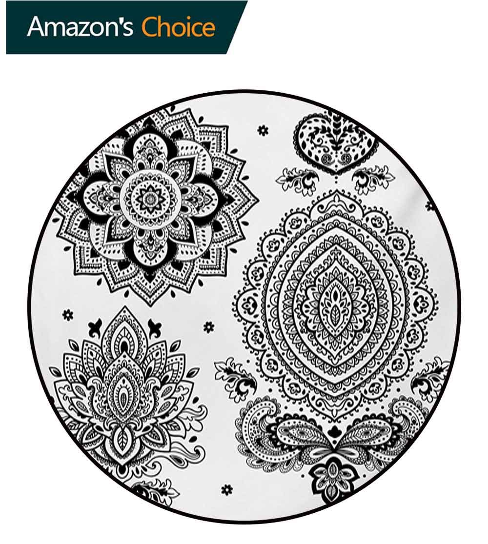RUGSMAT Henna Machine Washable Round Bath Mat,South Asian Art Inspired Design Elements Floral and Geometrical Style Ornamental Non-Slip No-Shedding Bedroom Soft Floor Mat,Diameter-35 Inch