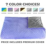 "Premium Weighted Blanket, Perfect Size 60"" x 80"" and Weight(12lb) for Adults and Children. Deluxe CALMFORTER Blanket. Price Includes Cover!"