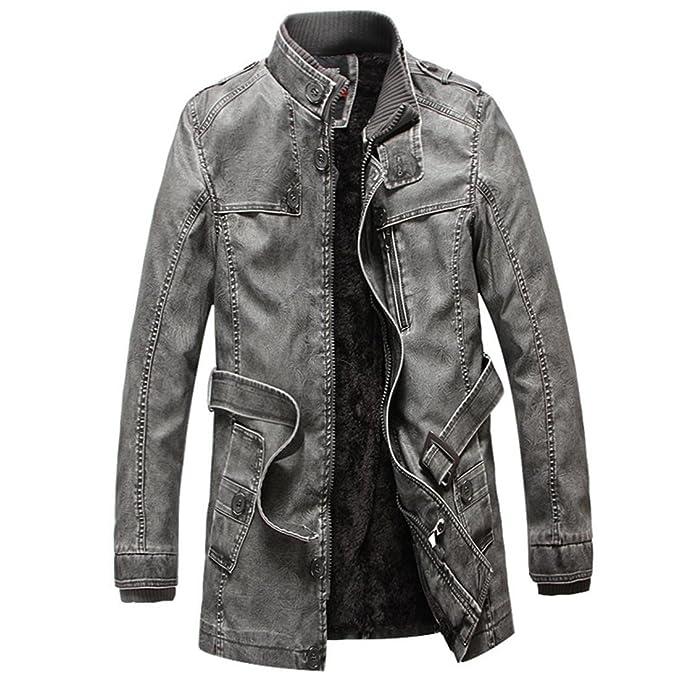 Chaqueta de cuero de Moto de invierno PU de hombre espesan capa larga de trinchera Chaqueta Abrigo de cuello de hombre hombres, black, xl: Amazon.es: Ropa y ...