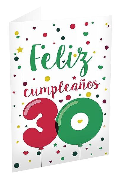 Grupo Erik Editores TF00228 - Tarjeta de felicitación, 11 x 16 cm, diseño Feliz Cumpleaños 30