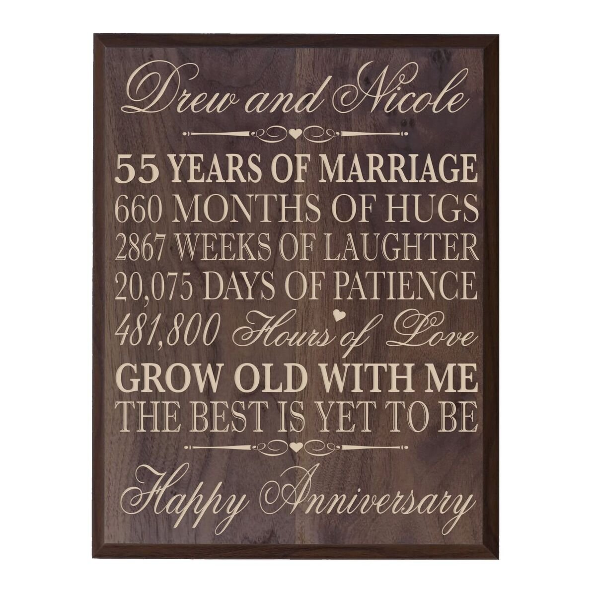 LifeSong Milestones Personalized 55th Wedding Anniversary Wall Plaque Gifts for Couple, Custom Made 55th for Her,55th 12'' W X 15'' H Wall Plaque (Grand Walnut)