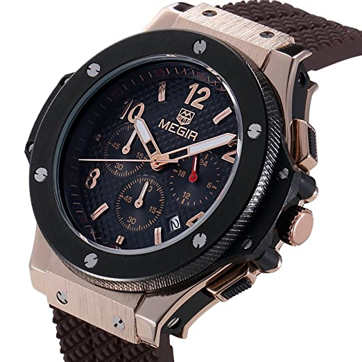 Amazon.com: MEGIR Men Watches Rose Gold Military Quartz Wristwatches Silicone Strap Chronograph Luminous relojes: Watches