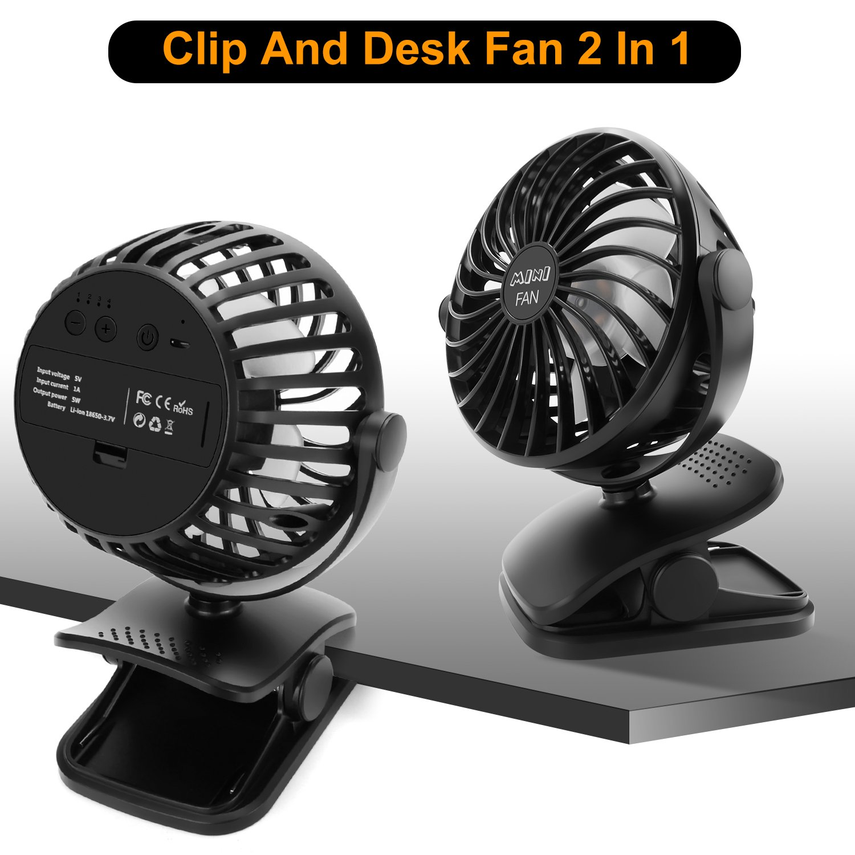 ESEOE Clip on Fan, USB Or 2600mAh Rechargeable Battery Operated Fan Small Desk Fan with 4 Speeds, 360 Degree Rotation Portable Stroller Fan for Baby S (Black) by ESEOE (Image #2)