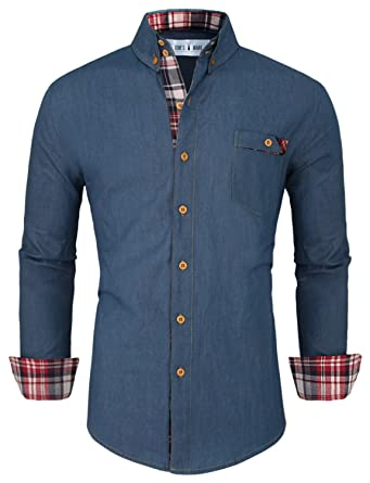 Tom's Ware Mens Casual Longsleeve Denim Button Down Shirt at ...