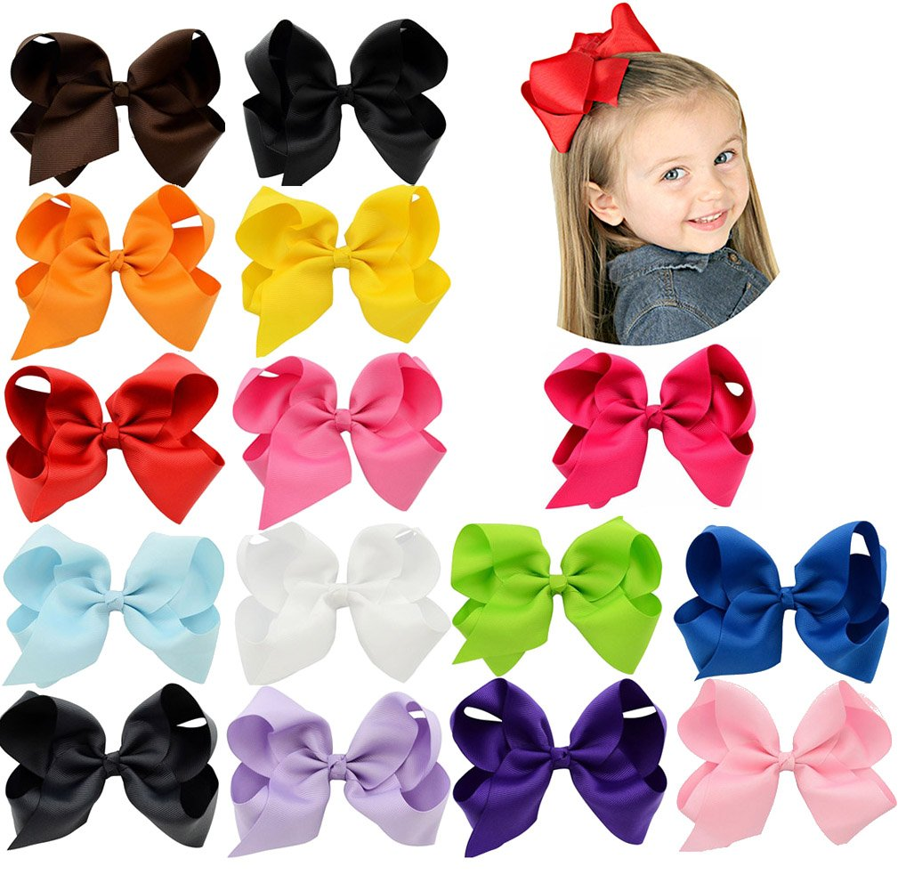 6 Inch Large Baby Hair Bows Barrettes Clip Holders Accessories For Toddler Girls 15 pcs by YHXX YLEN (Image #2)