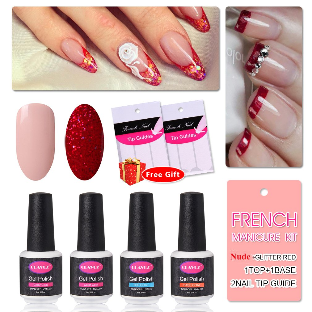 Amazon.com : French Manicure Nail Gel Polish Top and Base Coat Nude ...