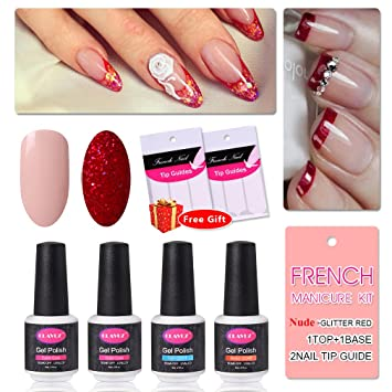 Amazon French Manicure Nail Gel Polish Top And Base Coat Nude