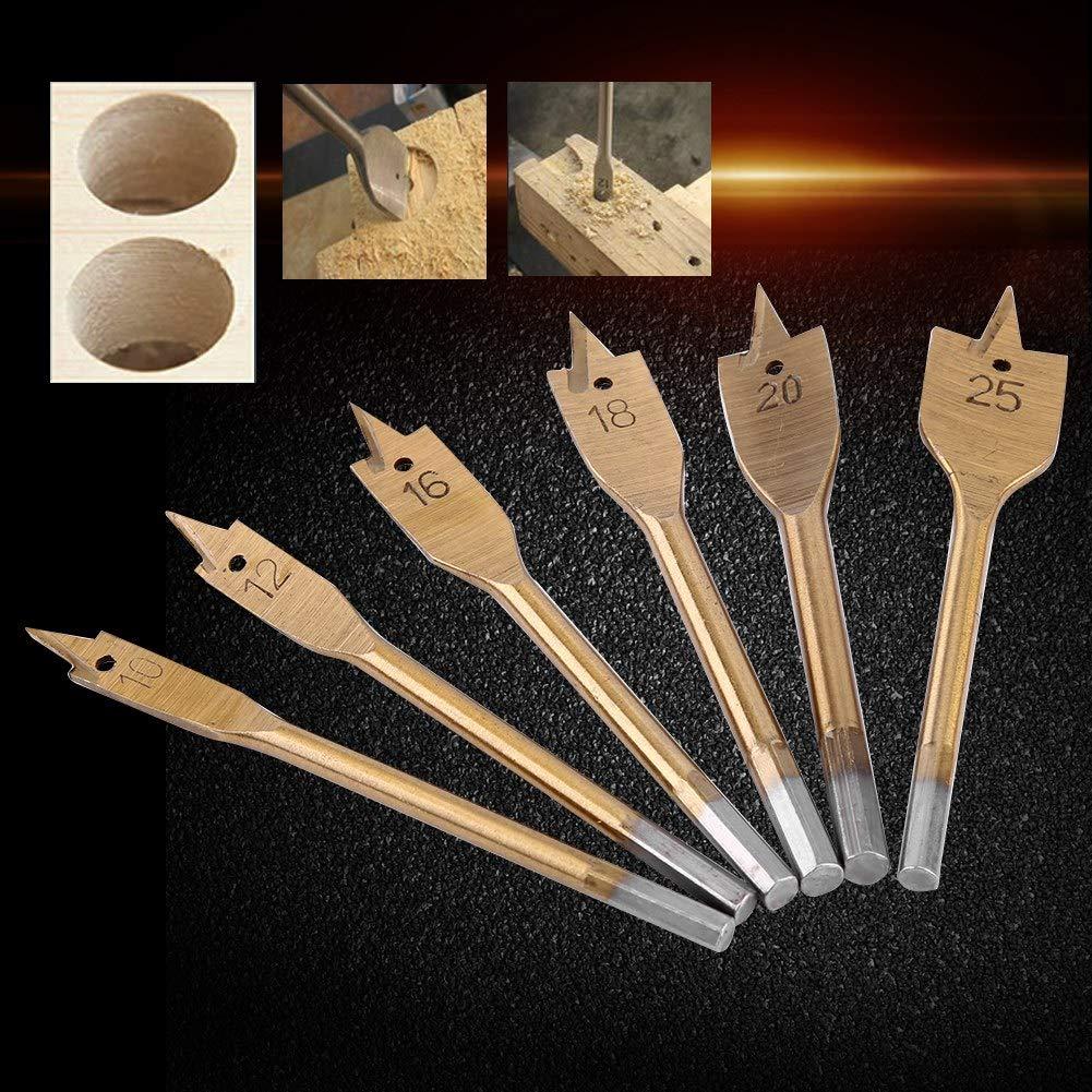 Spade Bit 6pcs High-Carbon Steel Spade Paddle Bits Woodworking Flat Drilling Boring Tools 10-25MM
