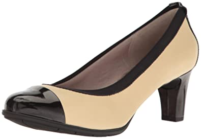 Rockport Women's Melora Gore Captoe Dress Pump Tan/Black Size 8.5