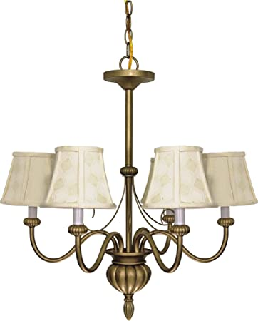 Nuvo 60 145 5 Light Chandelier with Ecru Shades