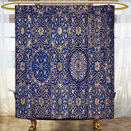 AmaPark Mildew Resistant Long Shower Curtain blue ceil in a muslim mosque islamic traditional religious ornament for Bathroom Water-Repellent Hotel Quality by AmaPark