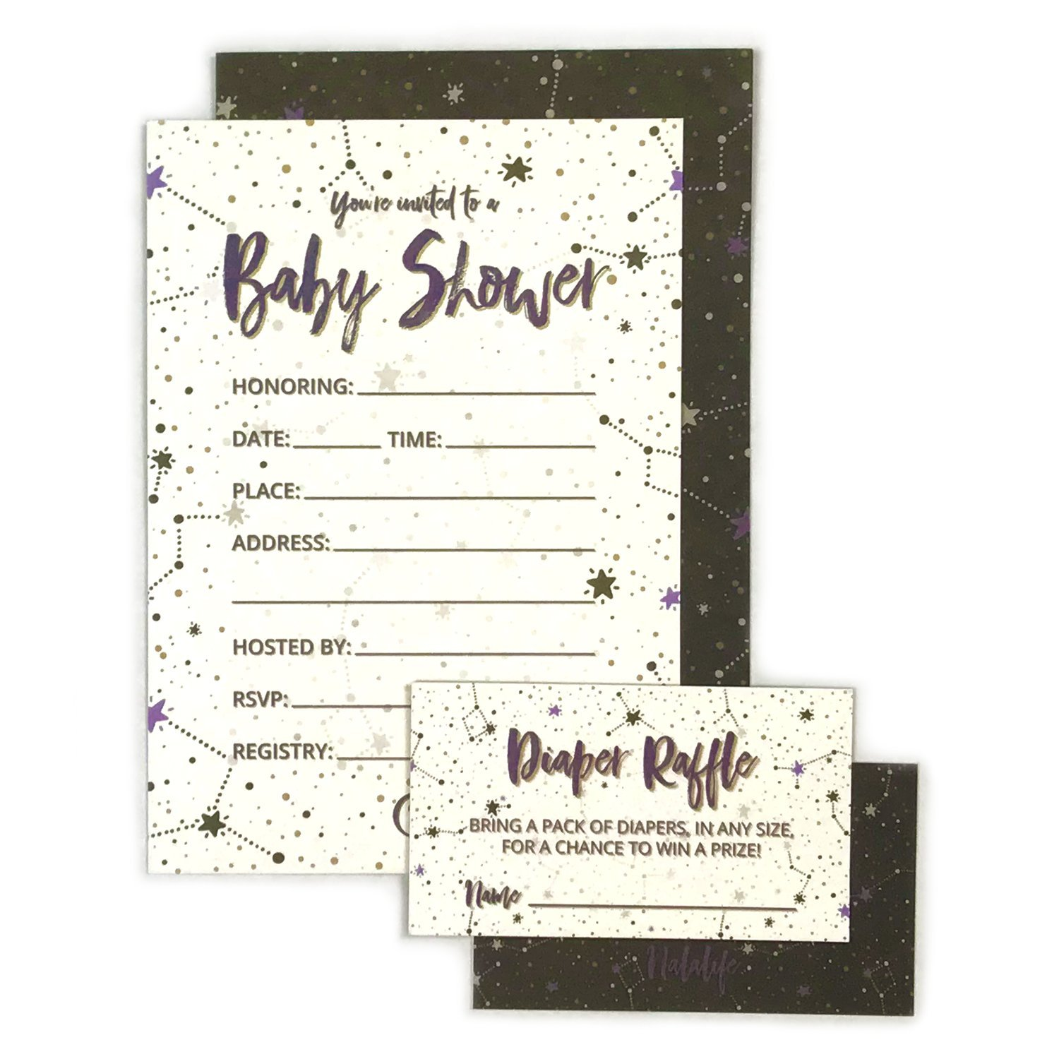 Twinkle Twinkle Little Star Baby Shower Invitations with Diaper Raffle Tickets for Boy and Girl - Set of 25 Party Invites - by Nalalife