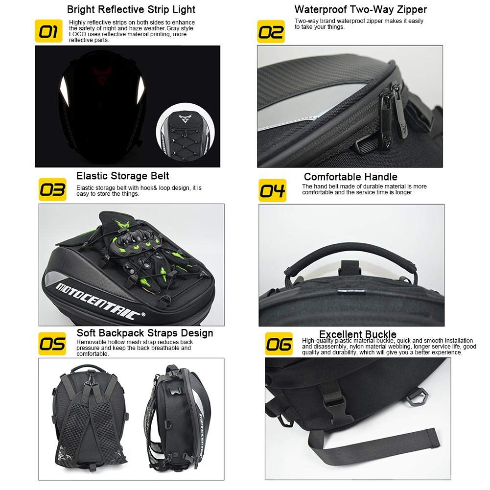 knowledgi Motorcycle Backseat Tank Bag Motorcycle Helmet Storage Bag Motorcycle waterproof backpack Motorbike Rear Seat Super Light Tail Accessories Bags