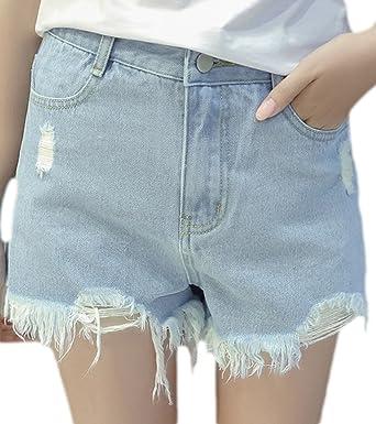 40bae88d34dc5b erdbeerloft - Damen Lässige Jeans Shorts im Used-Look, 42, Blau ...