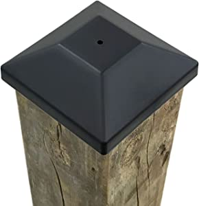 """(54 Pack) 4x4 Wood Fence Post Caps (3 5/8"""") Black, Decking Caps for Pressure Treated Wood Fence, Made in USA"""