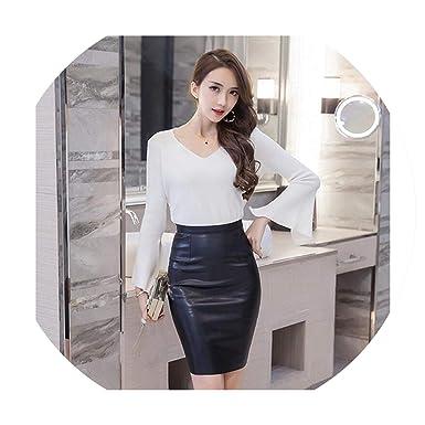 1c317e7bd2 Faux Leather Women Pencil Skirts Ladies Vintage Black High Waist  Knee-Length Skirt,Black