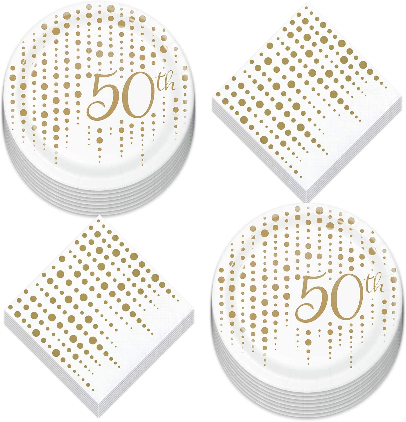50th Party Supplies for Milestone Birthdays and Anniversaries - Gold Metallic Sparkle and Shine Paper Dessert Plates and Beverage Napkins (Serves 16)
