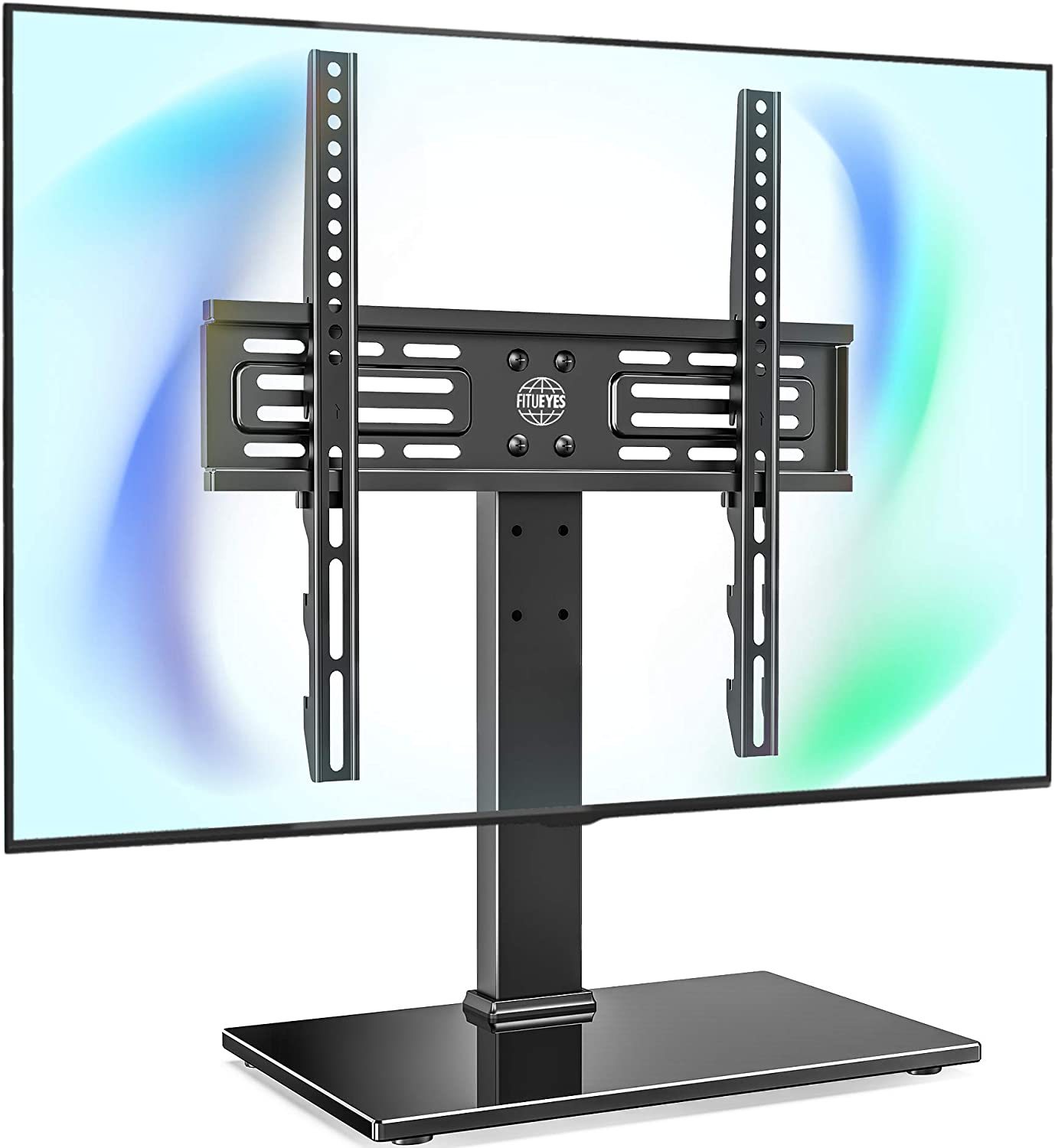 FITUEYES Universal TV Stand Table Top TV Stand for 27-55 inch LCD LED TVs 6 Level Height Adjustable TV Base with Tempered Glass Base VESA 400x400 Holds up to 88lbs TT103701GB: Furniture & Decor