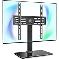 FITUEYES Universal TV Stand Table Top TV Stand for 27-55 inch LCD LED TVs 6 Level Height Adjustable TV Base with Tempered Glass Base VESA 400x400 Holds up to 88lbs TT103701GB