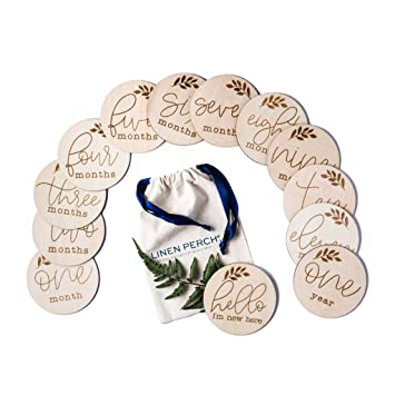 Birth Announcement Baby Milestone Cards Milestone Wood Markers Newborn Photography Prop Baby Monthly Milestone Wood Discs Baby