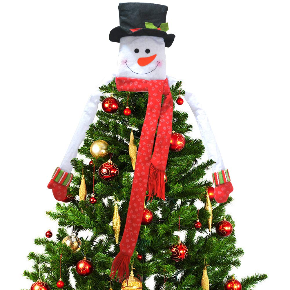 Deggod Christmas Tree Topper Cute Snowman Top Hat Hugger For Winter Wonderland Party Thanksgiving New Year Xmas Tree Decorations Ornament Red