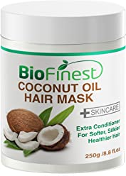 Biofinest Coconut Oil Hair Mask - with 100% Organic Shea Butter, Rosehip, Vitamin E- Deep Conditioner for Dry/ Damaged/ Color Treated Hair (250g)