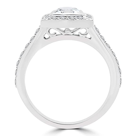 MD180474 1 5/8 CTW Princess Diamond V-Prong Halo Engagement Ring in 14K White Gold Jewellery