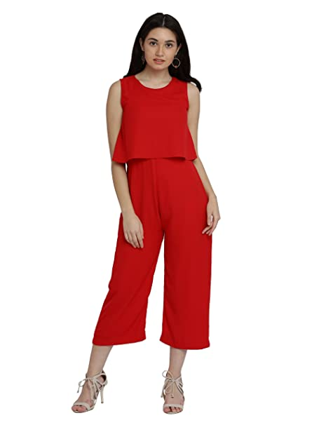c0f9c654a314 Miss Chase Women s Red Layered Midi Jumpsuit(MCAW17D09-61-64-02 Red X-