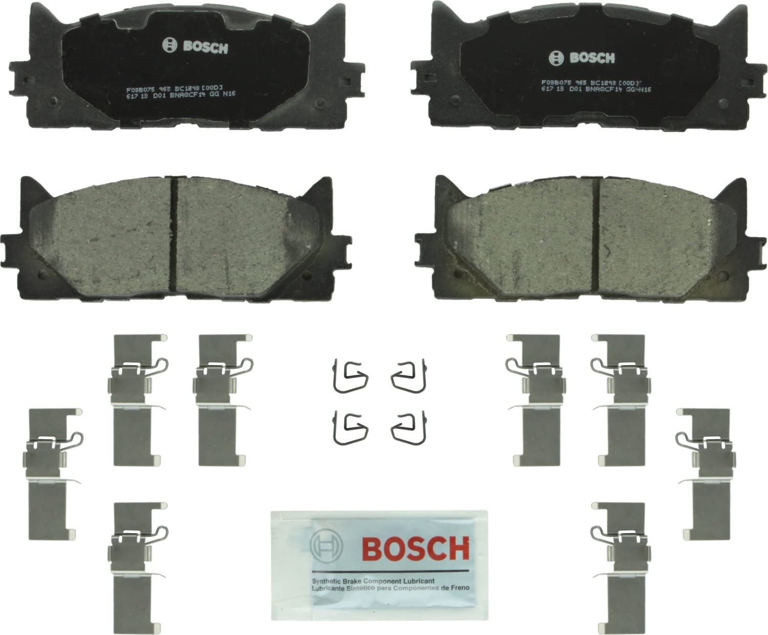 Bosch BC1293 QuietCast Premium Ceramic Disc Brake Pad Set For: Lexus ES300h ES350; Toyota Avalon Front Camry