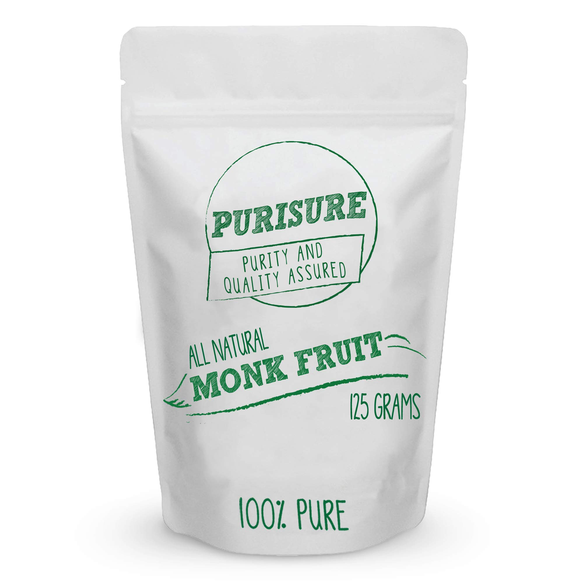 Purisure Monk Fruit Extract 125g (400 Servings) | Sugar-Free Natural Sweetener | Zero-Calorie Zero-Carb Sugar Substitute | No Artificial Sweeteners | Perfect for Low-Sugar, Low-Carb, Keto, Paleo Diets