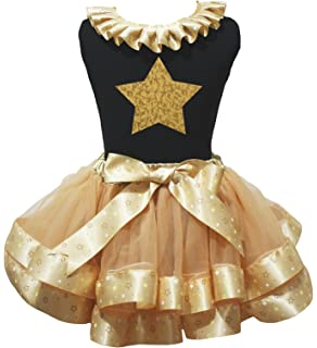 Petitebella Bling Birthday 1st White Shirt Brown Orange Petal Skirt Nb-8y