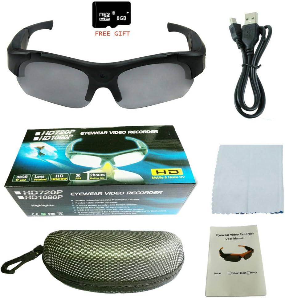 grabadora de v/ídeo seguridad oculta JIAMEIYI Gafas de sol deportivas 5 megap/íxeles grabador de v/ídeo para actividades al aire libre gafas de sol HD c/ámara de fotos c/ámara DV 1080P
