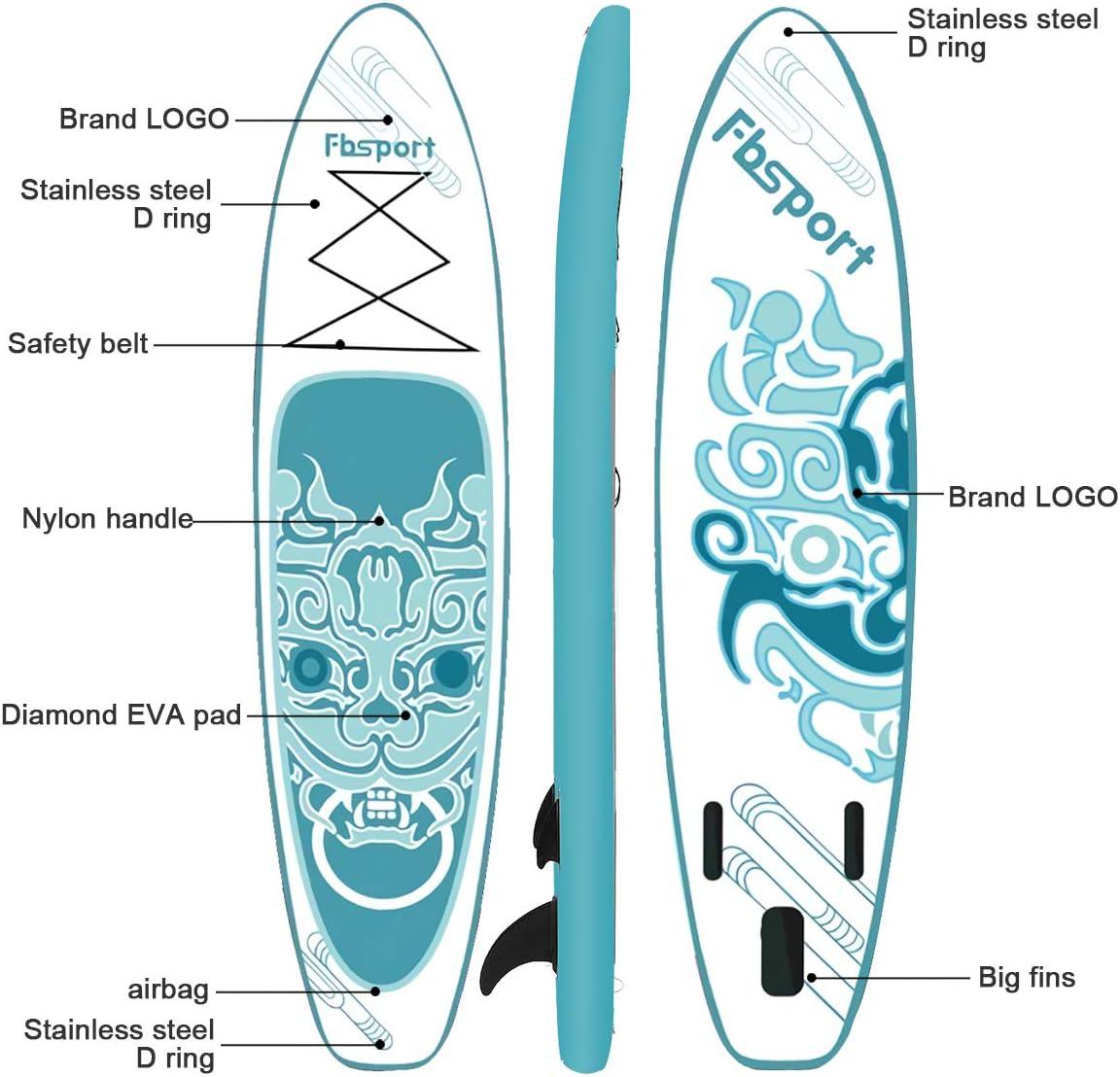 15 cm de Espesor Tabla de Paddle Surf Hinchable Set de Tabla Sup Hinchable con Tabla y Accesorios Tabla Inflable de Paddle Surf FBSPORT Tabla de Surf Hinchable