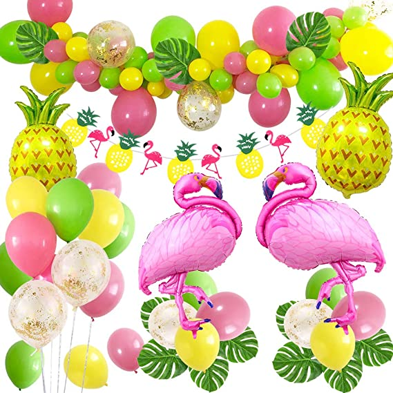 0ca3f868 MMTX Hawaiana FiestaTropical Globos Decoración, Fiesta hawaiana hawaiana  con Flamenco de piña Globos de Foli, Garland Bunting Banner para ...