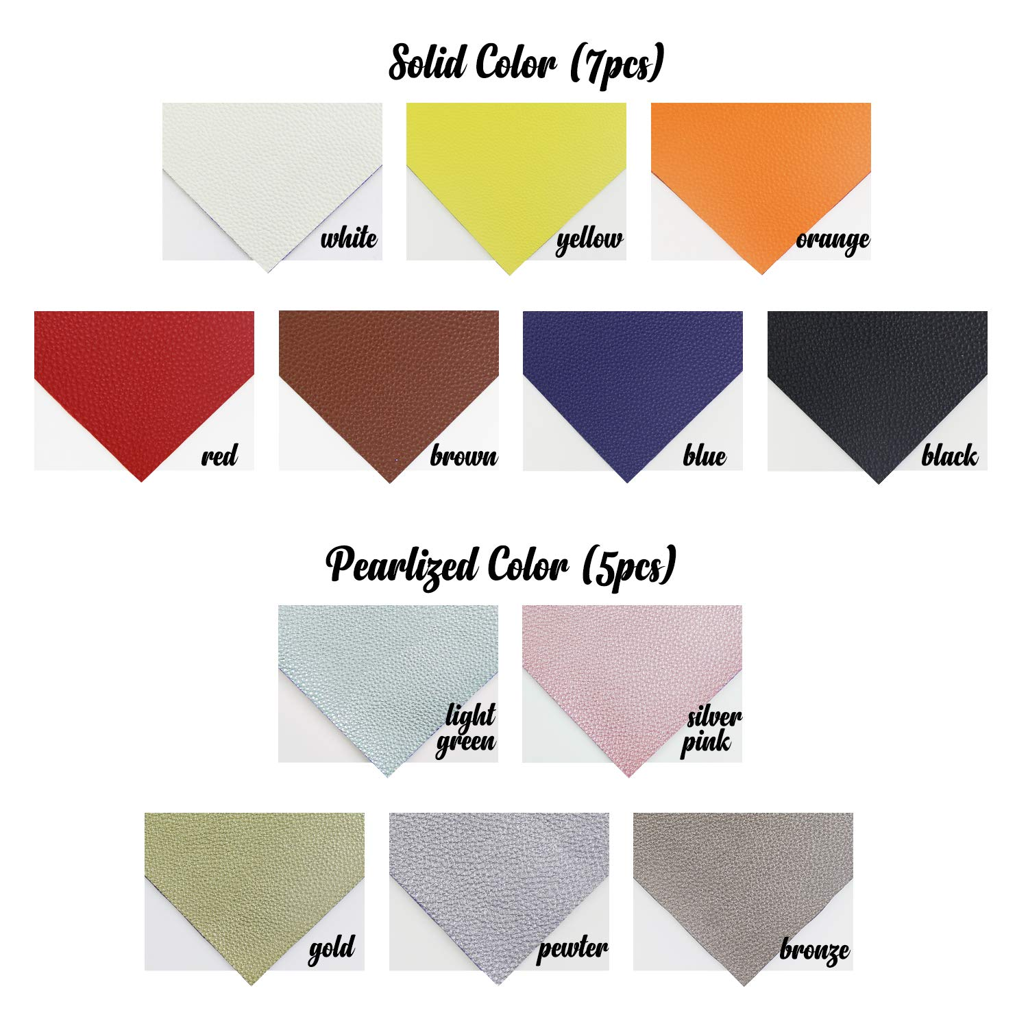Litchi Faux Leather Sheets, SIMPZIA NO Odor 11.8'' x 7.8'' PU Synthetic Leather Cotton Backed, 1.2mm Easy Cut Fabric Leather with 12PCS Pearlized and Solid Colors for Earrings, DIY Craft Projects by SIMPZIA (Image #2)