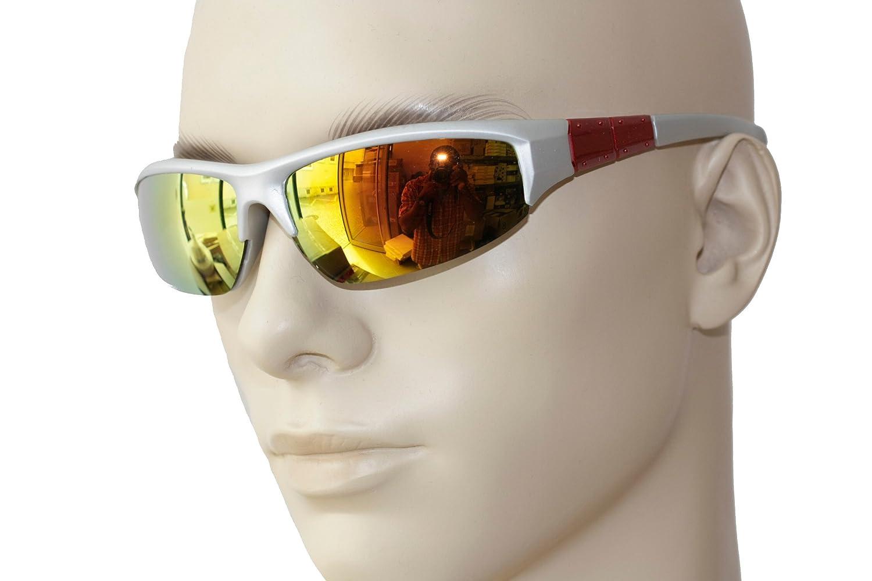 Emeco Black Gangs Biker Sonnenbrille Verspiegelt Bl2132k , Silber Gelb Verspiegelt