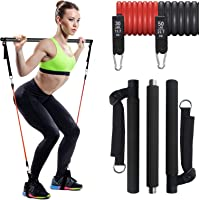IKARE Adjustable Pilates Bar Kit with Resistance Bands(50lb & 30lb), Portable Fitness Exercise Workout Toning Bar Stick…