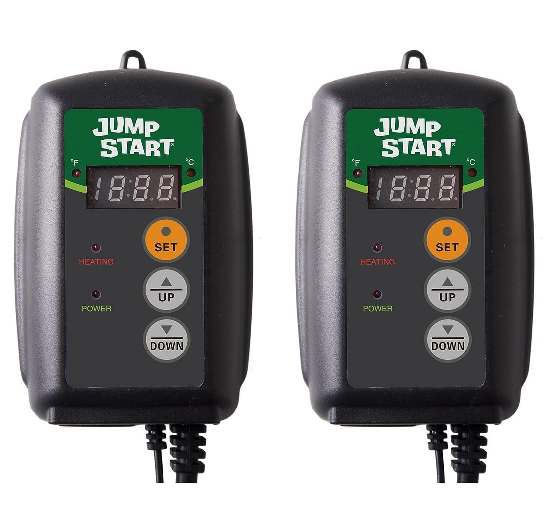 (2) HYDROFARM Hydroponic Seed Heat Mat Digital Temperature Controllers | MTPRTC 2 x MTPRTC