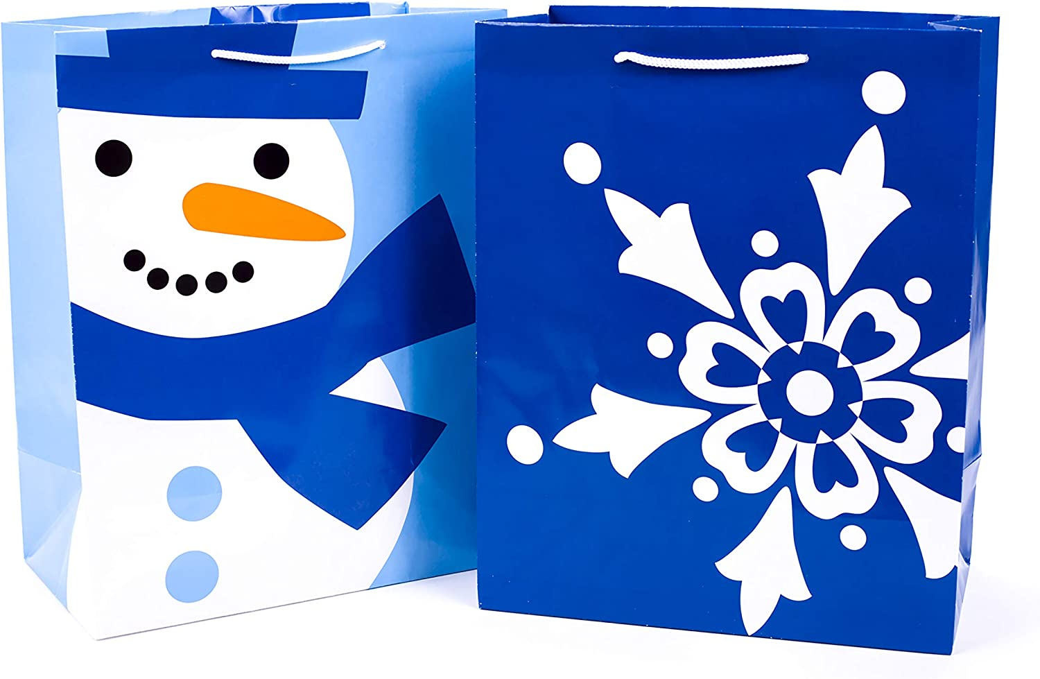Hallmark Large Holiday Gift Bags (Pack of 2; Happy Snowman, Big Snowflake)