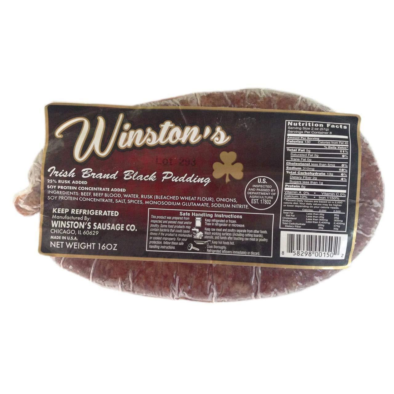 Winston's Irish Black Pudding 16 Oz (4 Pack)