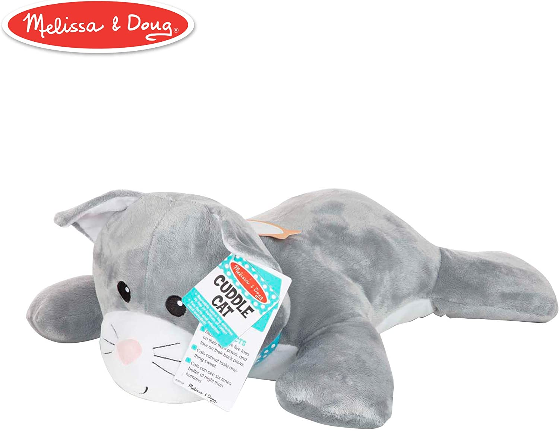 Melissa and Doug 40704 Cat Puppets and Cuddle Plush Jumbo Stuffed Animal (Reusable Activity Card, Nametag), Multi-Colour