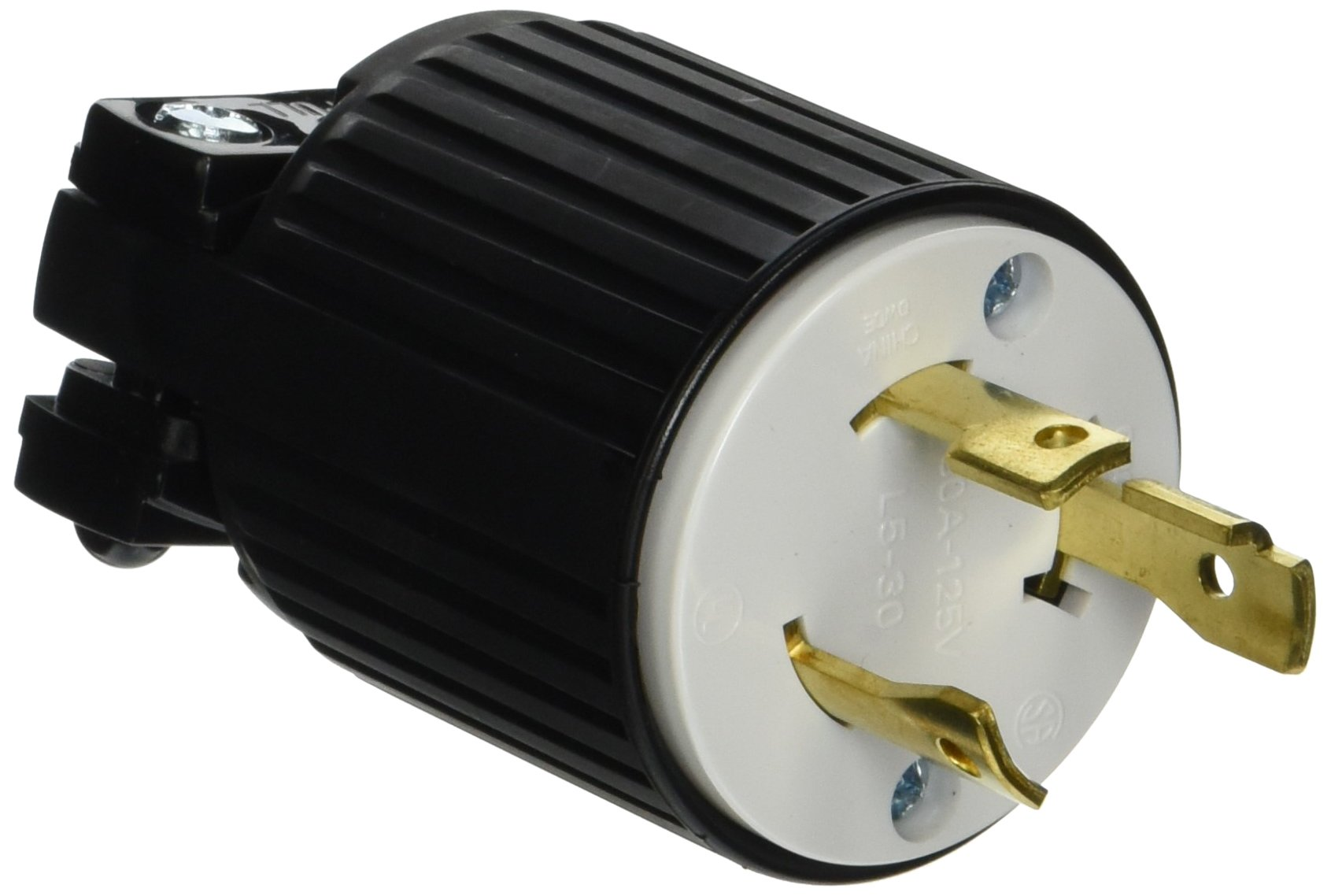Eaton L530P 30-Amp 125-Volt Hart-Lock Industrial Grade Plug with Safety Grip Black and White